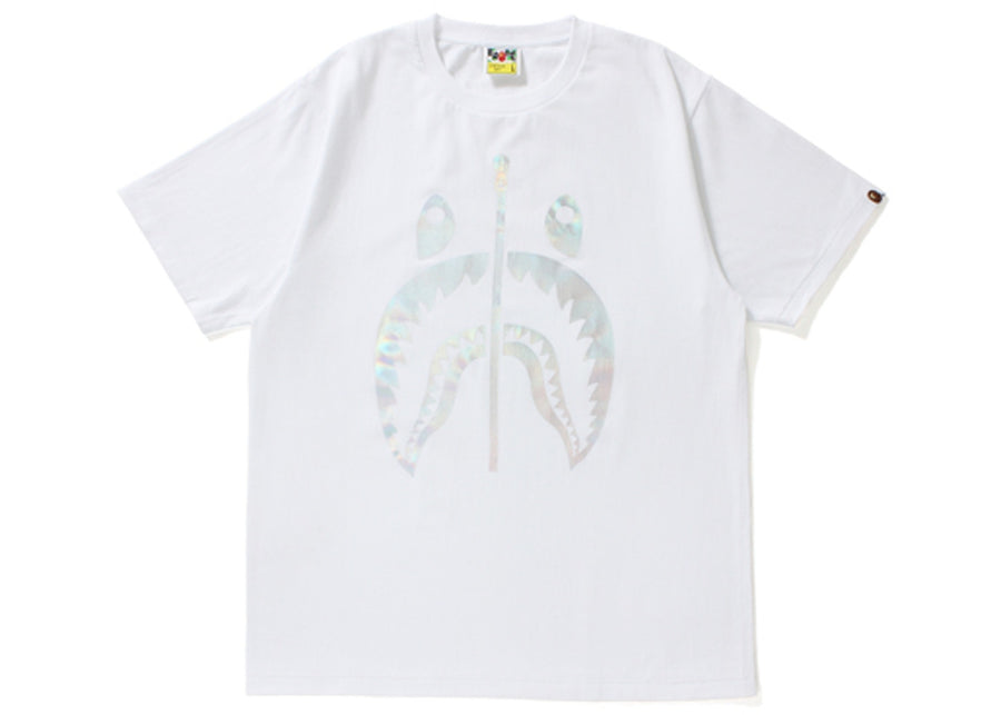 White Hologram Shark Face Tee