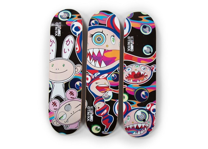 TAKASHI MURAKAMI COMPLEXCON 2017 SKATE DECK SET OF 3 EYES MOUTH FACE