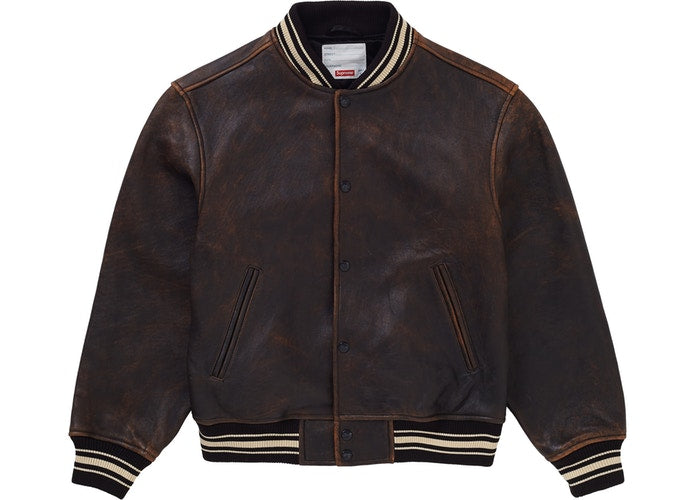 Worn Leather Varisty Jacket