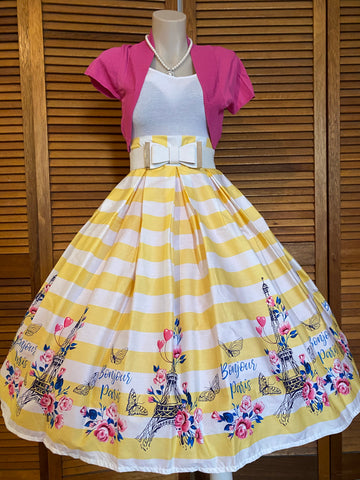 Bonjour Yellow Double Box Pleated Skirt