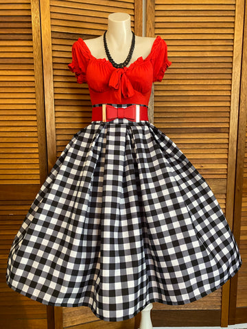 Checker Board Double Box Pleated Skirt