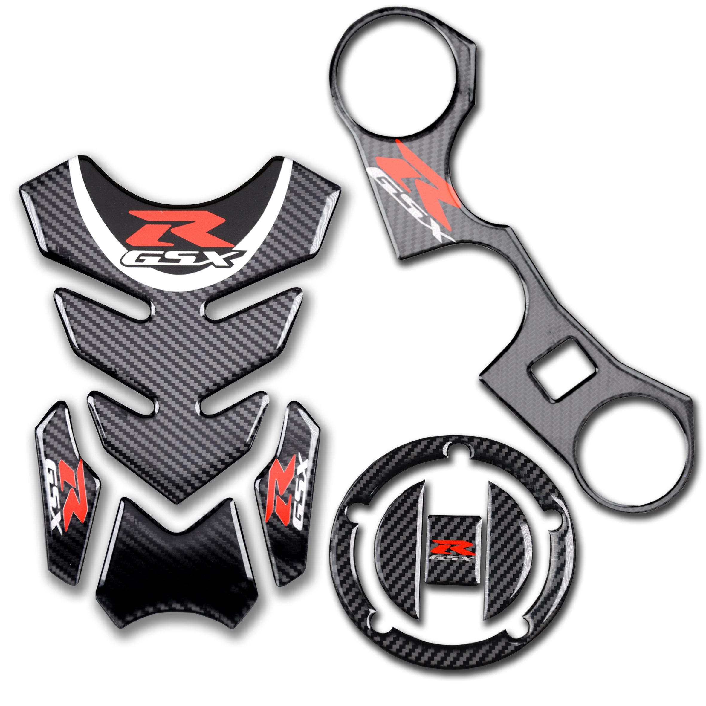 Real Carbon Fibre Gas Cap, Tank Pad,Triple Tree Front End Upper, Top Clamp  Decal Stickers, Tank Pad, Tank Protector for GSXR 600 GSXR 750 GSXR 1000 K6