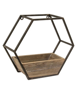 Wood & Metal Hexagon Wall Planter