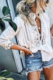 White Lace Trimmed Button-Up Blouse