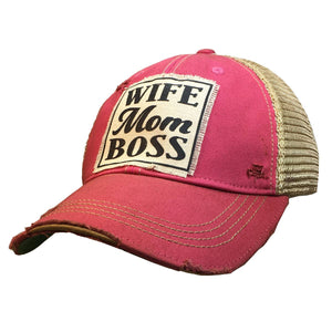 Distressed Trucker Cap - Wife Mom Boss Hot Pink