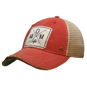 Distressed Trucker Cap - Mom Life Red