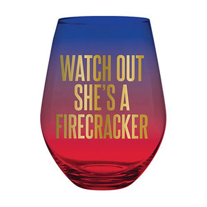 Jumbo Wine Glass - She's a Firecracker