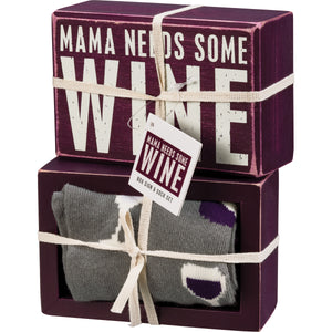 Sign & Sock Set - Mama Needs Some Wine