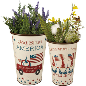 God Bless America Gnome Buckets