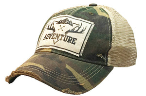 Distressed Trucker Cap - Adventure Camo