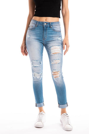 Kancan Jeans -Mid Rise Distressed Ankle Skinny