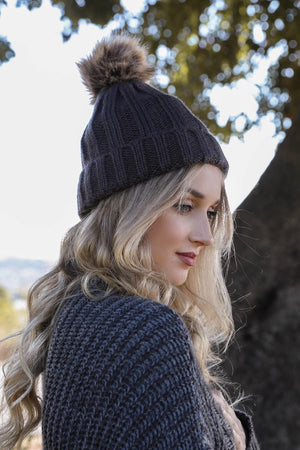 Ribbed Faux Fur Beanie, Multiple Colors