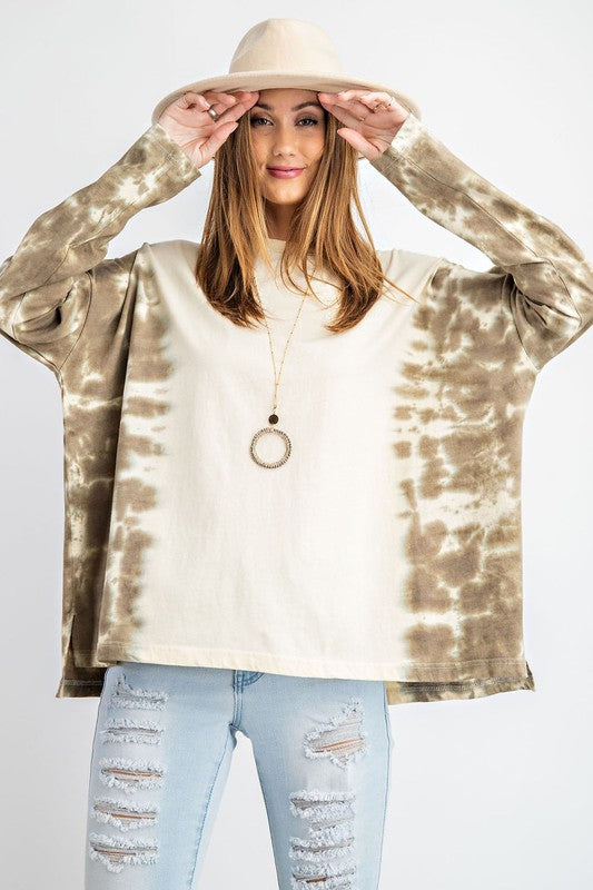 Faded Olive Tie-Dye Boxy Top