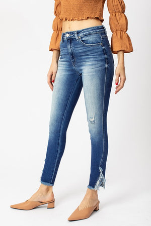 Kancan High-Rise Hem Detail Ankle Skinny