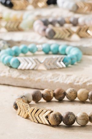 Chevron + Semi-precious Stone Stretch Bracelet, Multiple Colors!