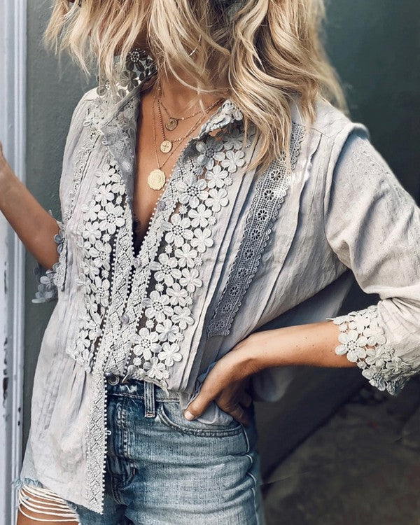 Gray Lace Trimmed Button-Up Blouse