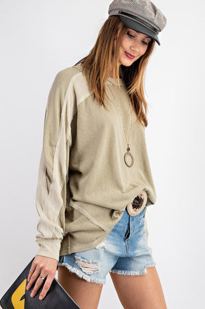 Faded Sage Two Tone Top
