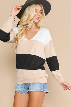 Khaki Color Block Sweater