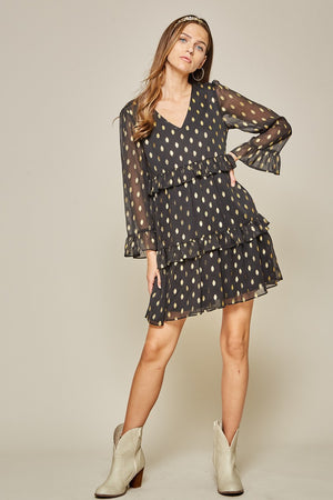 Black & Gold Metallic Dot Dress