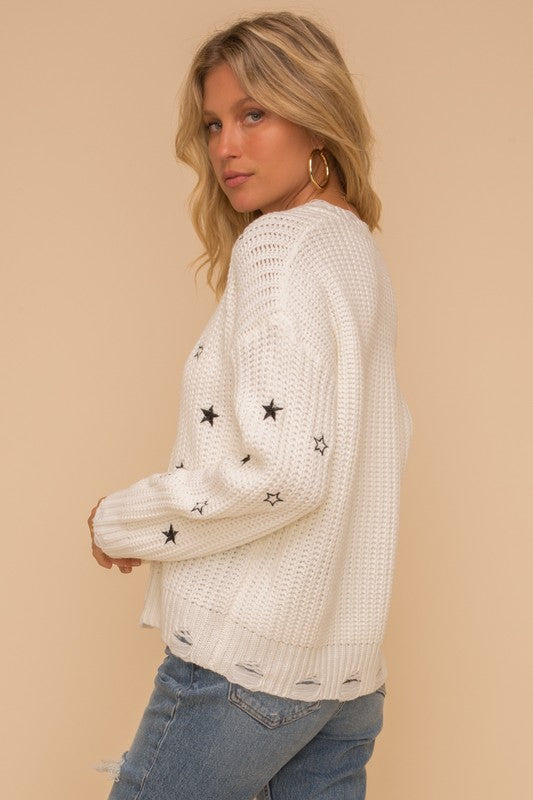 Star Embroidered Ivory Distressed V Neck Sweater