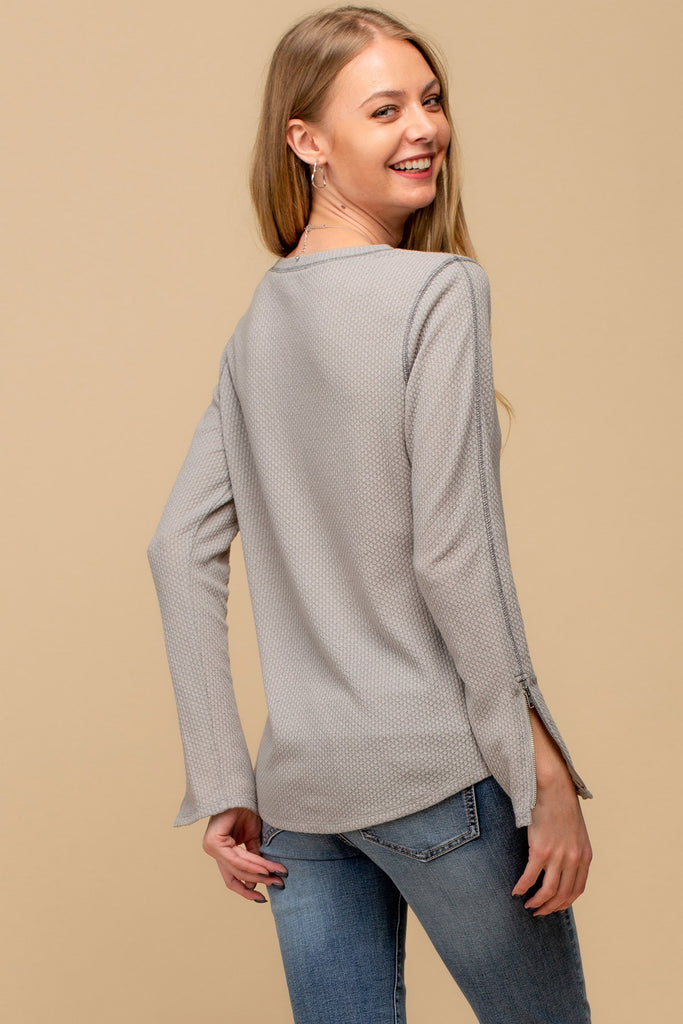 Basic Long Sleeve Top with Sleeve Zip Detail