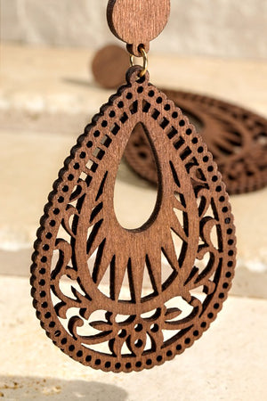 Wood Laser-Cut Filigree Earrings, Multiple Colors!