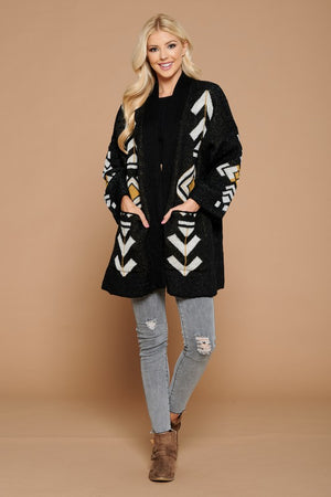 AZTEC PATTERN LOOSE FIT CARDIGAN