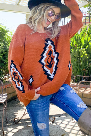 Rust Aztec-Printed Sweater