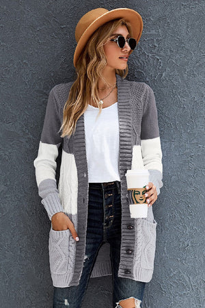 Gray Color-Block Long Button Cardigan