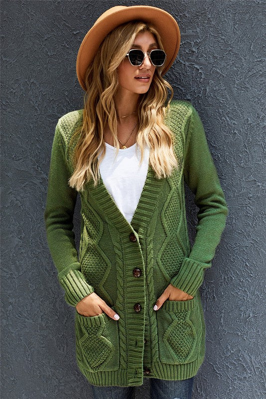 Fern Green Long Button Cardigan