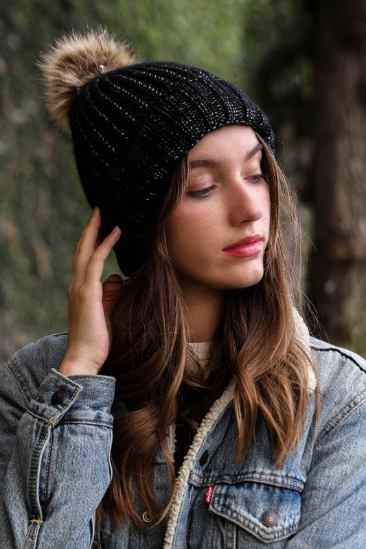Black Soft Rib Knit Pom Beanie