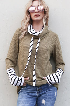 Stripe Color Block Double Layer Funnel Neck Top