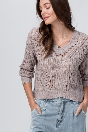 Lilac Open Knit Crop Sweater