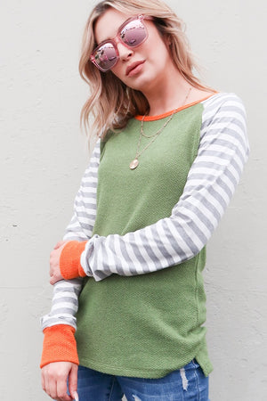 Spring Stripe Color-Block Top