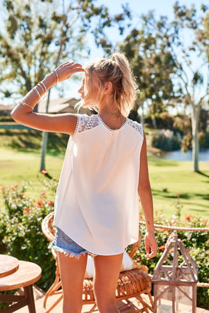 White Sleeveless Top with Lace Trim