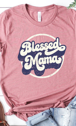 Retro Blessed Mama graphic tee