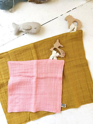 Mustard Muslin Double Gauze Lovey Blanket & Attached Teether