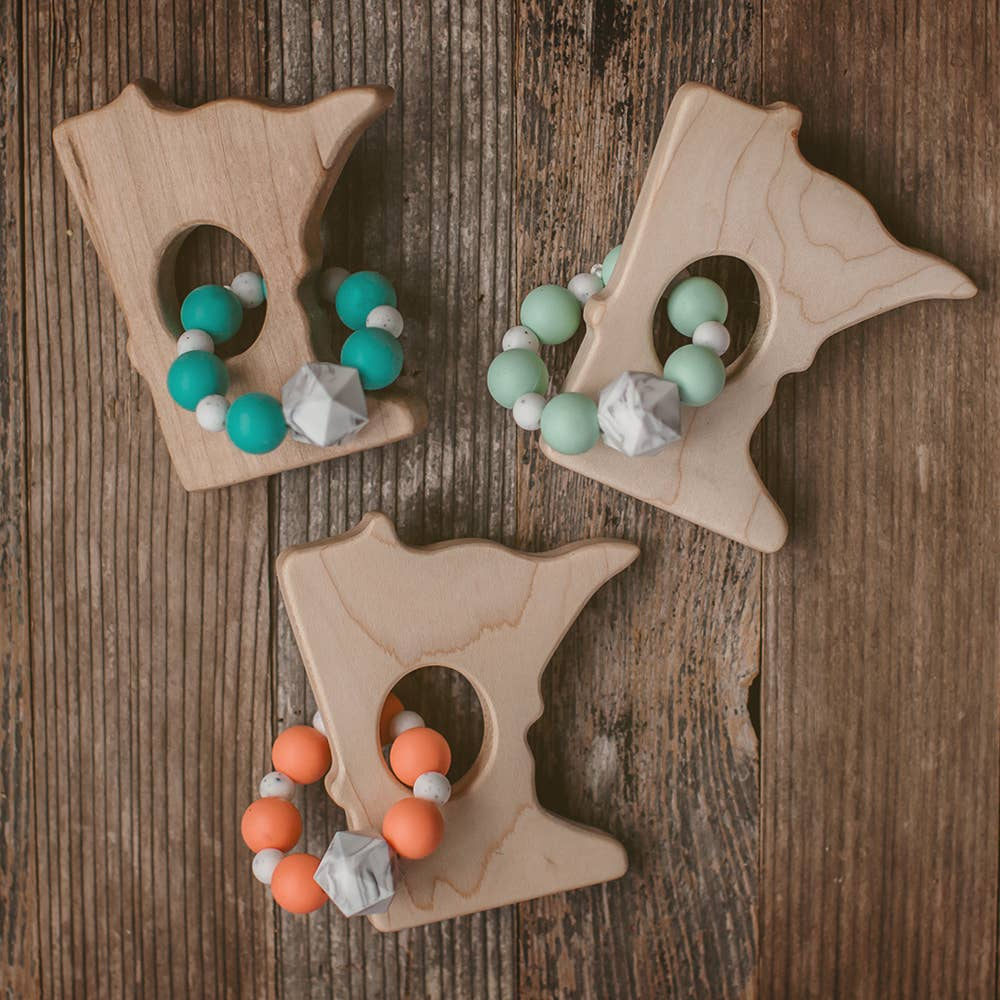 Wood and Silicone Bead Minnesota Teether