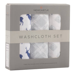 Blue Deer Washcloth Set of 3
