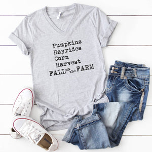 Fall Graphic VNeck- Fall on the Farm