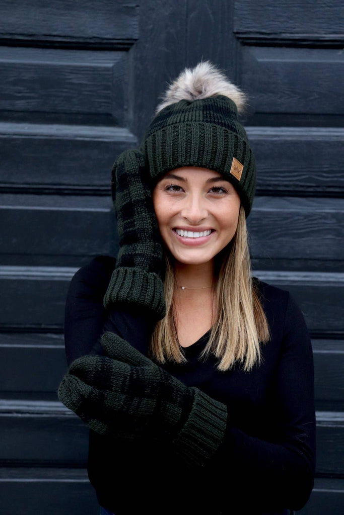 Green and Black Plaid Pom Knit Hat