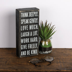 Box Sign - Think Deeply