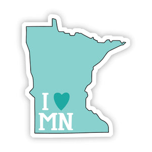 I Love Minnesota Teal Sticker