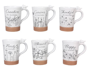 STONEWARE MUGS WITH NATURE'S MESSAGE CARDS