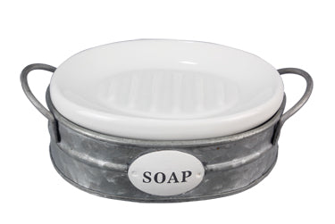 CERAMIC SOAP DISH WITH TIN BASKET