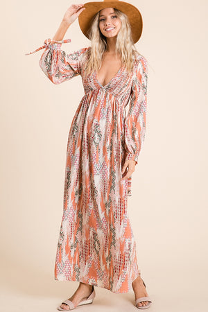 Peach Printed Maxi Dress
