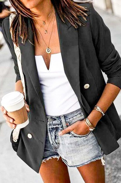 Black Double Pocket Blazer Jacket