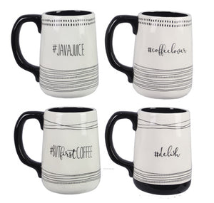 Black and White Hashtag Coffee Mugs