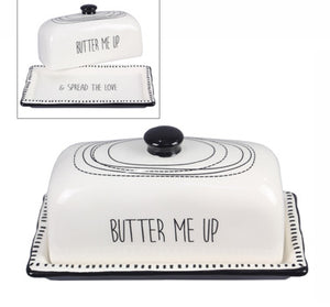 Ceramic Black and White Butter Dish with Lid