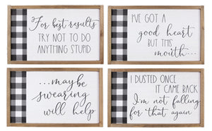 WOOD FRAMED WALL HUMOR SIGNS WITH PLAID DESIGN